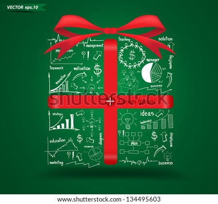 Creative gift box with drawing business strategy plan concept idea, Vector illustration modern template design - stock vector