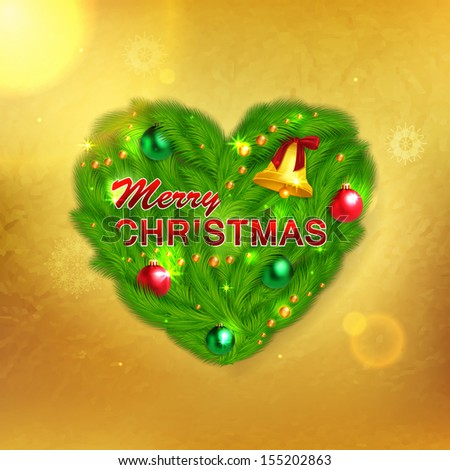 Creative glimmered christmas label with fir tree branches, green and red balls and christmas bell on golden background. Christmas greeting  card. Heart shape vector decoration for your holiday design. - stock vector