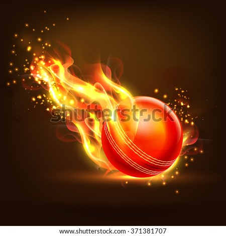 Creative glossy Ball in fire on brown background for Cricket Sports concept. - stock vector