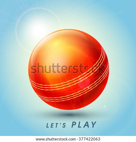 Creative glossy Ball on shiny blue background for Cricket Sports concept. - stock vector