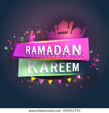 Creative glossy paper tag with stylish text Ramadan Kareem, Mosque and Praying Man for Islamic Holy Month celebration. - stock vector