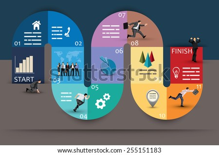 Creative Graphic Design of Conceptual Curvy Business Diagram, Emphasizing Phases or Stages, on Brown and Blue Background. - stock vector