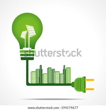 creative green energy city concept or connect to the solar energy concept vector - stock vector