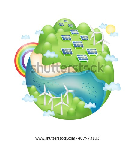 Creative green energy concept. Green planet earth with Solar panels and wind turbine isolated on white background. vector illustration. - stock vector