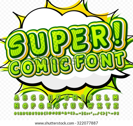 Creative green high detail comic font. Alphabet in style of comics, pop art. Multilayer funny colorful letters and figures for decoration of kids' illustrations, websites, posters, comics, banners - stock vector