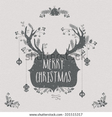 Creative greeting card design with reindeer horns and other ornaments for Merry Christmas celebration. - stock vector