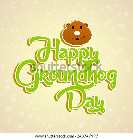 Creative Groundhog text for Groundhog Day - stock vector