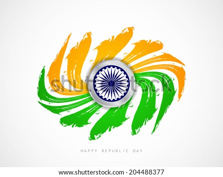 Creative grungy Indian flag theme design on white background. Vector illustration - stock vector