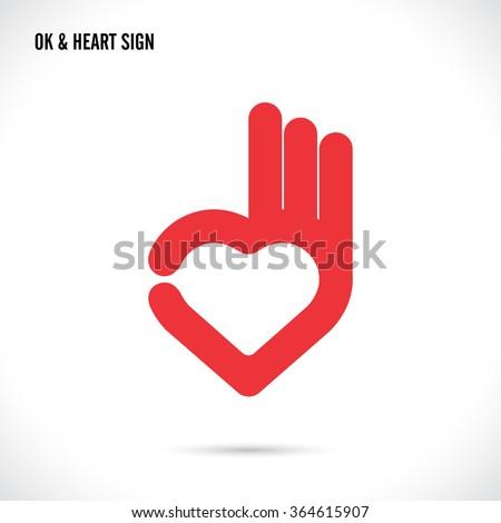 Creative hand and heart shape abstract logo design.Hand Ok symbol icon.Happy Valentines day symbol.Vector illustration - stock vector