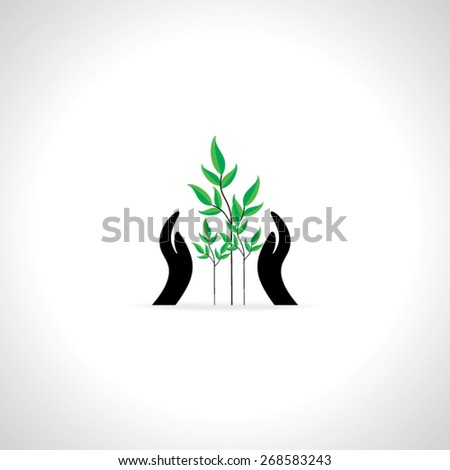 creative hands care green concept  - stock vector