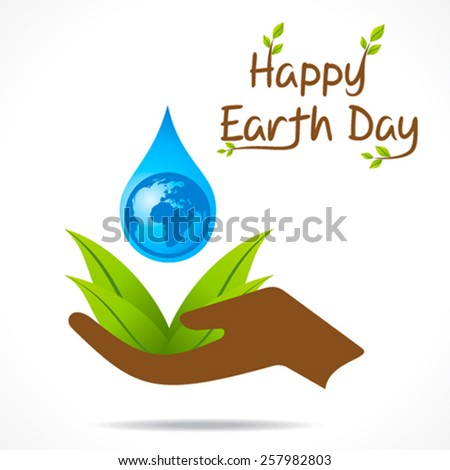 creative happy earth day or save water design vector - stock vector