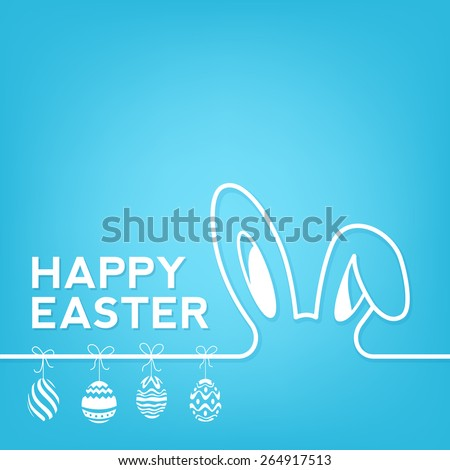 Creative Happy Easter Background With Rabbit And Eggs - stock vector