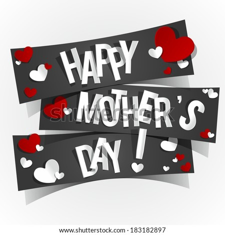 Creative Happy Mother's Day Card with Hearts vector illustration - stock vector