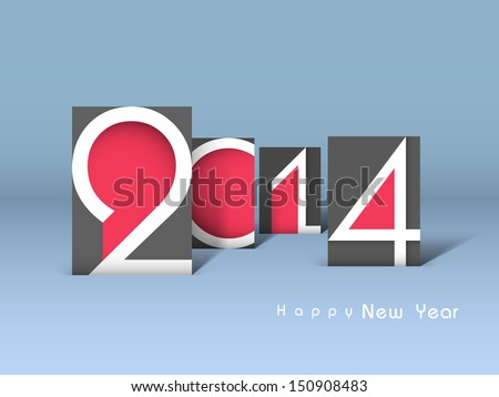 Creative Happy New Year 2014 celebration background. - stock vector