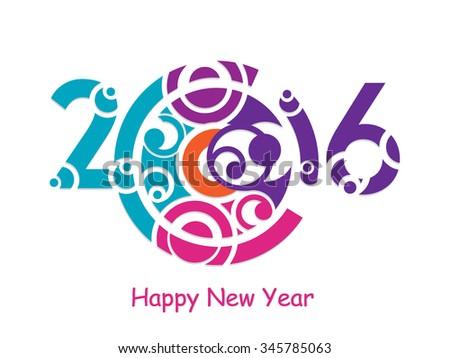 Creative happy new year 2016 design. - stock vector