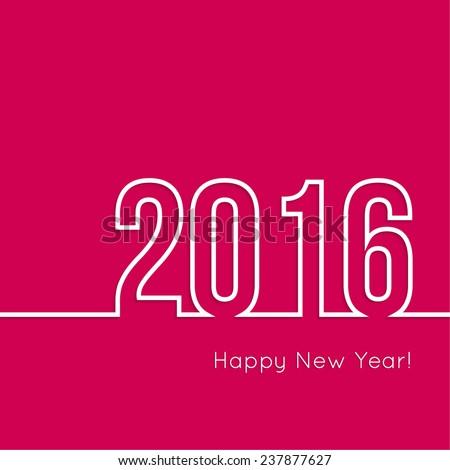 creative happy new year 2016 design. Flat design. Outline - stock vector