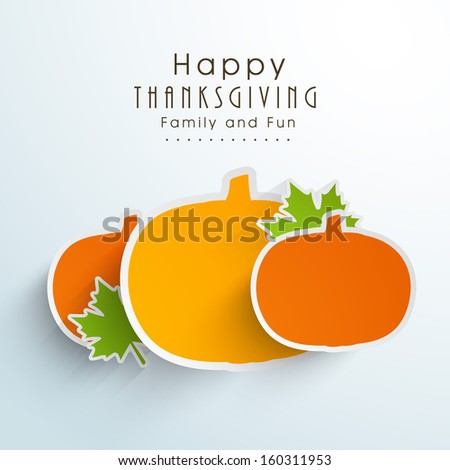 Creative Happy Thanksgiving Day stickers, labels or tag in pumpkin shapes on blue background.  - stock vector