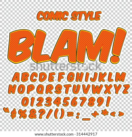 Creative high detail comic font. Alphabet in the style of comics, pop art. Letters and figures for decoration of kids' illustrations, websites, comics and banners. - stock vector