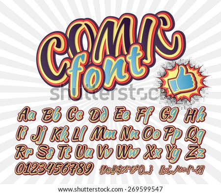 Creative high detail font for your design. 3D alphabet in the style of comics. Graphics pop - art on the background of radial lines. Bright cartoon comic. Kids letters. Vector illustration - stock vector
