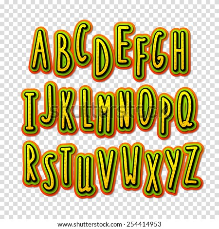 Creative high detail font. The alphabet in the style of comics. Graphics pop - art on transparent background. Hand-drawn stylish slim letters. Bright cartoon comic. 3d letters.  - stock vector