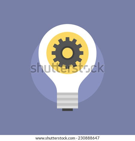 Creative idea development process, lightbulb with cogwheel meaning success planning and effective business solution. Flat icon modern design style vector illustration concept. - stock vector