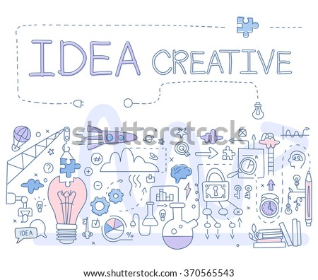 Creative Idea. Handdrawn Vector Illustartion Doodle style concept. Modern line style illustration for web banners, hero images, printed materials vector illustration - stock vector