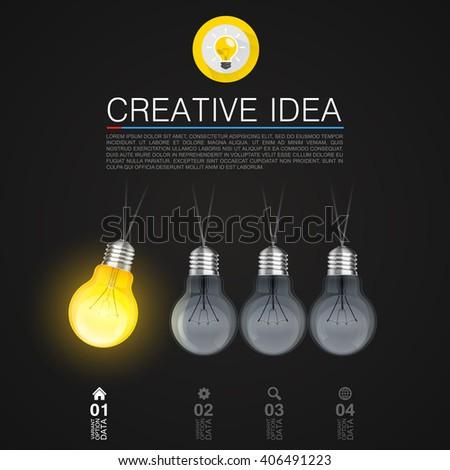 Creative idea, Idea lamp, Light Black background, Vector illustration - stock vector