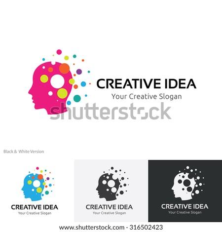 Creative idea logo,Brain logo,Idea,Education logo,learning,Vector logo template - stock vector