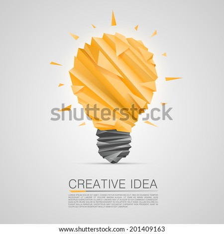 Creative idea of origami lamp. vector illustration - stock vector