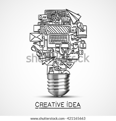 Creative idea of sketch collage icons. Vector illustration - stock vector