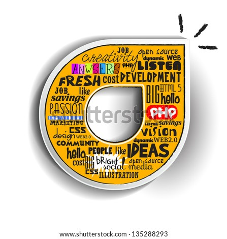 Creative idea with concept of word cloud, Vector illustration modern template design - stock vector