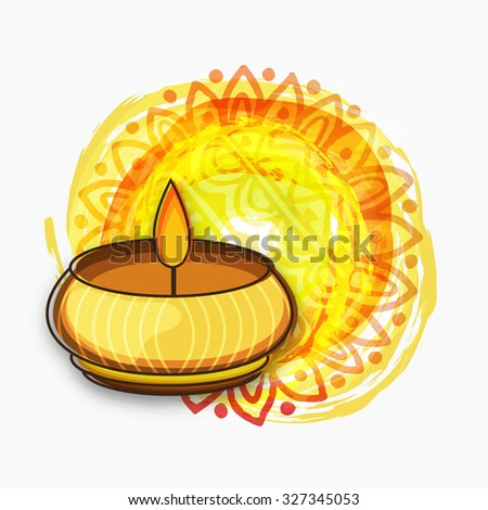 Creative illuminated lit lamp on floral decorated colourful paint stroke background for Indian Festival of Lights, Happy Diwali celebration. - stock vector