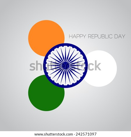 Creative Illustration for Indian Republic Day with round tricolors and ashoka wheel. Vector - stock vector