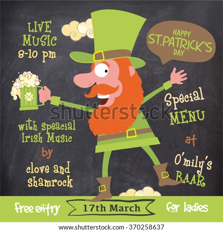Creative illustration of funny Leprechaun on chalkboard background for St. Patrick's Day Party celebration. - stock vector