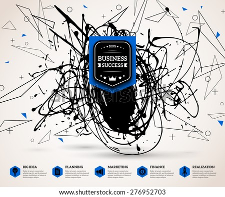 Creative infographics concept for successful business. Background with vector paint stain geometric shapes for business presentation or promotional material. Scientific future technology background. - stock vector
