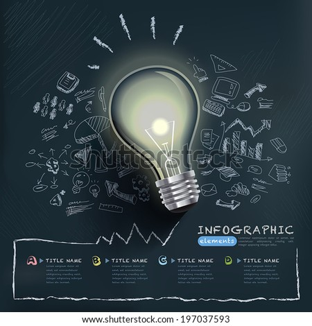 creative infographics template with bulb can be used for infographics and website layout vector, concept vector illustration - stock vector