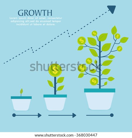 Creative Investment Infographic layout with money tree in three steps showing success of growth in Business. - stock vector