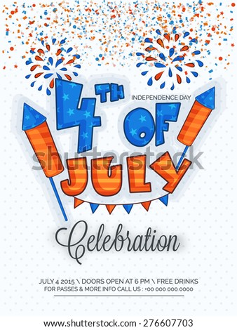 Creative invitation card decorated with national flag colors text 4th of July and fireworks for American Independence Day celebration. - stock vector