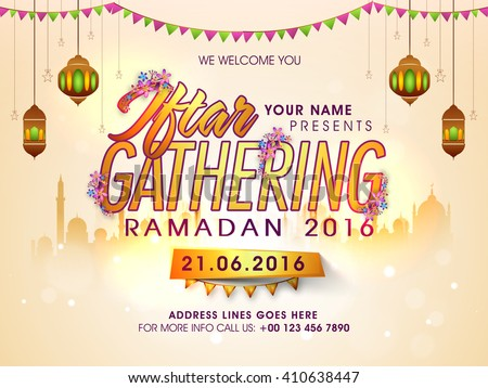 Creative Invitation Card design with Golden Text Iftar Gathering on Mosque silhouetted background for Holy Month of Muslim Community, Ramadan Kareem celebration.  - stock vector