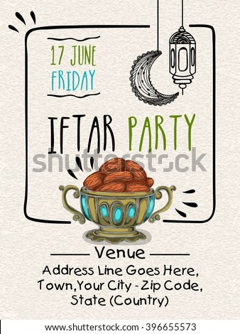 Creative Invitation Card design with illustration of sweet dates in traditional pot for Ramadan Kareem, Iftar Party celebration. - stock vector