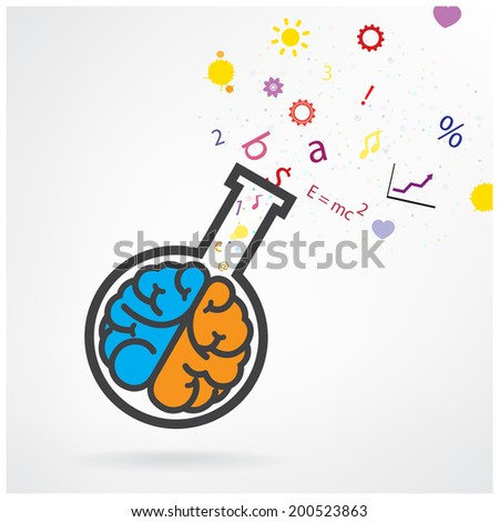 Creative left and right brain sign with the test tube on grey background ,design for poster flyer cover brochure.Education idea ,business idea .vector illustration - stock vector