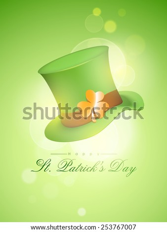 Creative leprechaun hat with glossy shamrock leaf on shiny green background for Happy St. Patrick's Day celebration. - stock vector