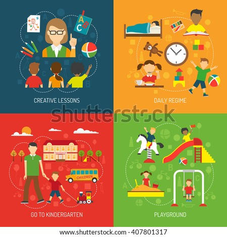 Creative lessons daily regime go to kindergarten and playground 2x2 concept flat vector illustration - stock vector
