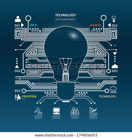 Creative light bulb abstract circuit technology infographic.vector - stock vector