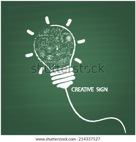 Creative light bulb handwriting style on blackboard with business idea concept, education concept. Vector illustration - stock vector