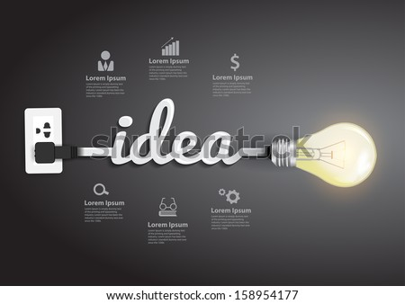 Creative light bulb idea abstract infographic, Inspiration concept modern design template workflow layout, diagram, step up options, Vector illustration - stock vector