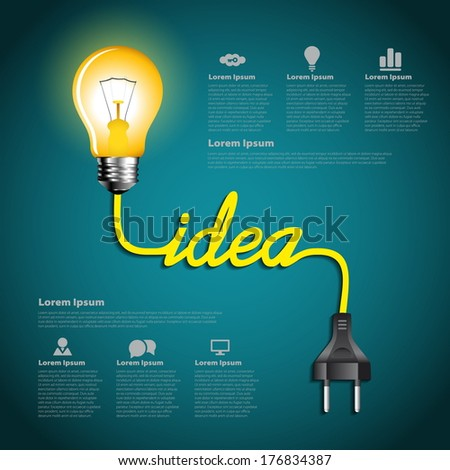 Creative light bulb idea abstract infographic, Inspiration concept modern design template workflow layout - stock vector