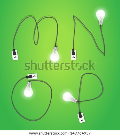 Creative light bulb idea alphabet design, Vector illustration modern template ( m n o p ) - stock vector
