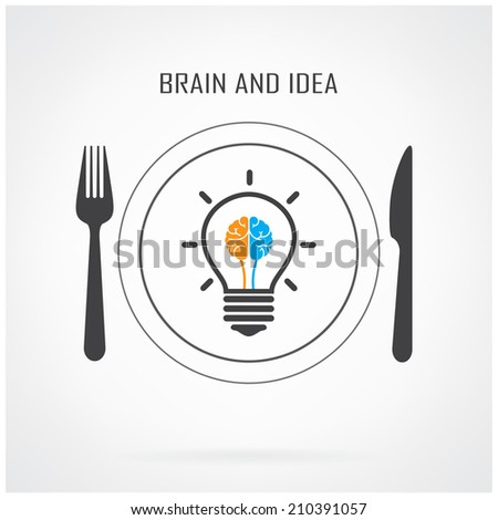 Creative light bulb  idea and brain concept background ,business concept.Vector illustration - stock vector