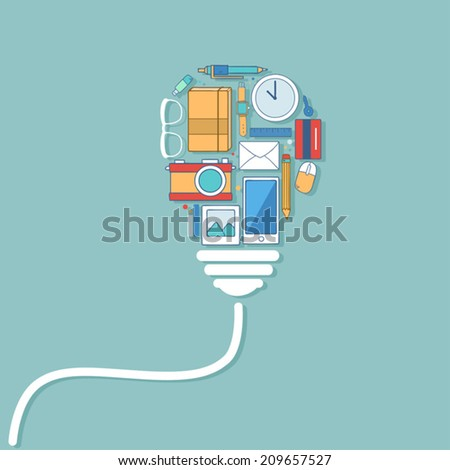 Creative light bulb Idea concept with work icons - stock vector